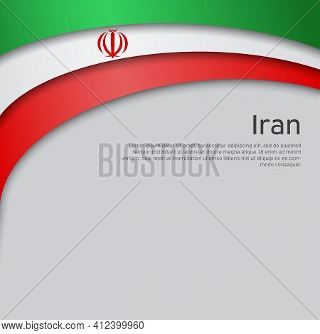 Abstract Waving Iran Flag. Iranian State Patriotic Banner, Flyer. Business Booklet. Card Design. Pap