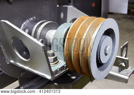 Belt Drive Pulley. Part Of Dry Mix Filling Machine