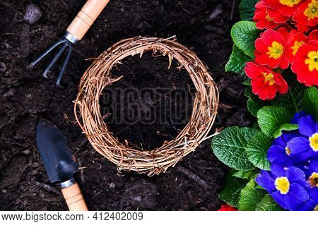 Gardening Tools And Flowers On The Garden Terrace. Planting Flowers In The Spring In The Garden. Pri