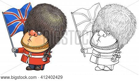 Vector Cartoon For Coloring. Funny Illustration Of A Cute British Guardsman Holding The National Fla