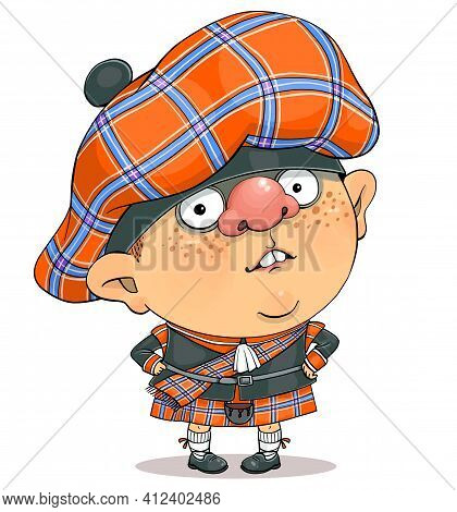 Funny Cartoon Vector. Illustration Of A Cute British Guy In Scottish National Dress.