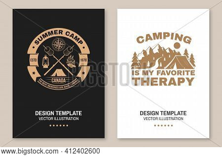 Summer Camp. Happiness Is Toasted Marshmallows. Vector. Vintage Typography Design With Camping Tent,