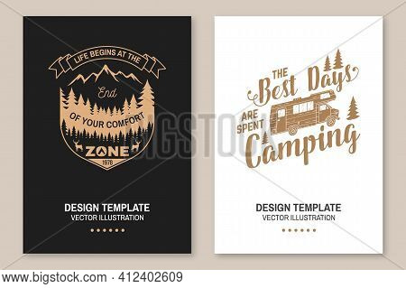 Set Of Outdoor Adventure Inspirational Quote. Vector Concept For Shirt, Logo, Print, Stamp Or Tee. V