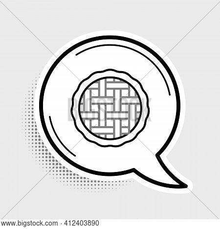 Line Homemade Pie Icon Isolated On Grey Background. Colorful Outline Concept. Vector