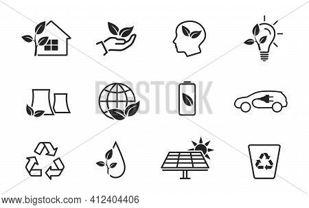 Eco And Environment Line Icon Set. Eco Friendly Industry And Ecology Symbols