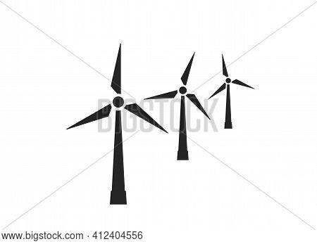 Wind Farm Icon. Wind Turbines. Eco Friendly, Renewable And Alternative Energy Symbol. Isolated Vecto