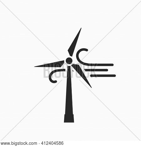 Wind Power Icon. Eco Friendly, Renewable And Alternative Energy Symbol. Wind Turbine Vector Image
