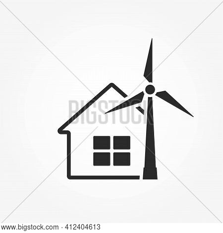 House And Wind Turbine Icon. Electricity Home Solution. Eco Friendly, Renewable And Alternative Ener