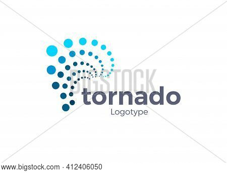 Abstract Hurricane Symbol. Tornado Blue Points Style Icon. Typhoon Logo Concept, Dots Style. Wind Po