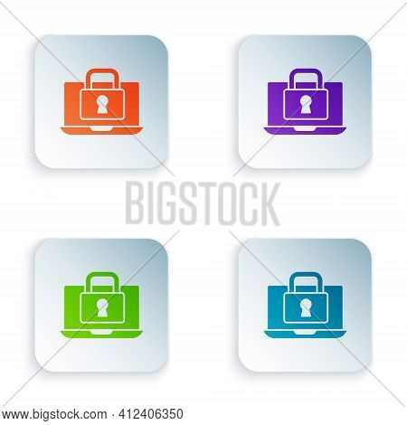 Color Laptop And Lock Icon Isolated On White Background. Computer And Padlock. Security, Safety, Pro