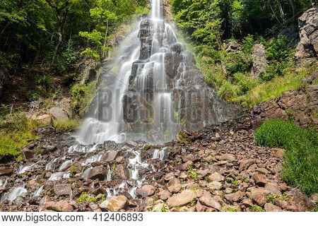 Trusetaler Waterfall Near Brotterode-trusetal In Thuringia, Germany In Summer