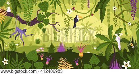 Jungle Landscape Flat Composition With Horizontal View Of Tropical Flowers Exotic Plants And Animals