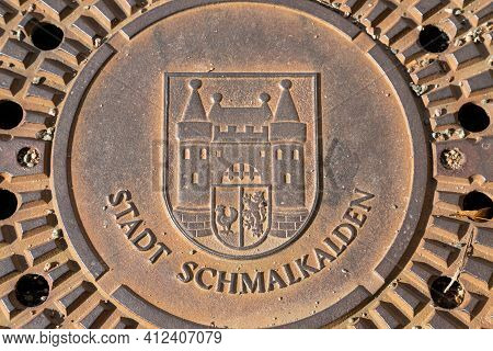 Manhole Cover With The Coat Of Arms Of The Town Of Schmalkalden, Thuringia