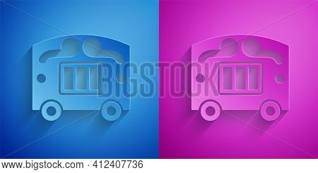 Paper Cut Circus Wagon Icon Isolated On Blue And Purple Background. Circus Trailer, Wagon Wheel. Pap