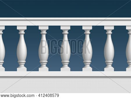 Seamless Pattern Of Balustrade. The Railing Of The Balcony Or Veranda. Architectural Part Of The Ord