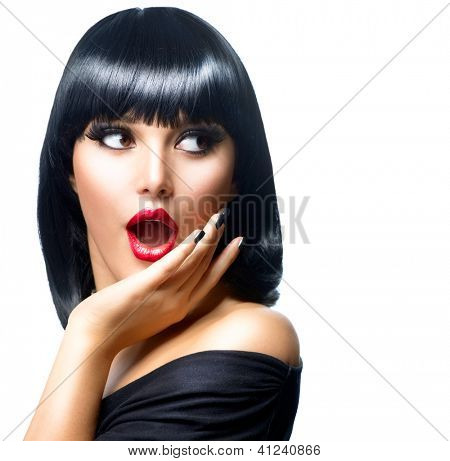 Beauty Surprised Brunette Woman isolated on White background. Beautiful Girl opening Mouth. Emotion. Red Lips and Black Nails. Hairstyle. Makeup poster
