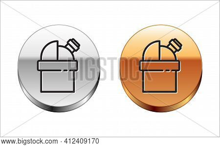 Black Line Astronomical Observatory Icon Isolated On White Background. Observatory With A Telescope.