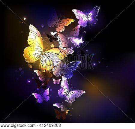 Fabulous Glowing, Golden And Purple Butterflies On Dark Glowing Background.