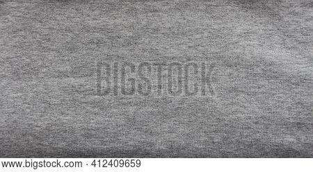 Gray Flat Background Of Fabric With A Visible Woven Texture, Ash Cotton As An Empty Space Design, Pl