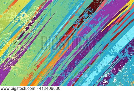 Textured, Shabby Background, Painted Over With Purple, Green, Blue Paint. Vibrant Colors.