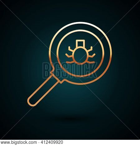 Gold Line Flea Search Icon Isolated On Dark Blue Background. Vector