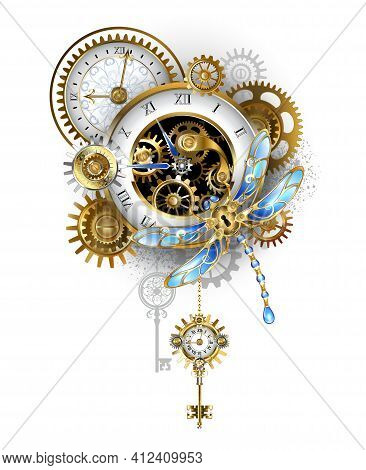 Mechanical Steampunk Dragonfly With Blue Wings And Gold Antique Clock, Golden Gears On White Backgro