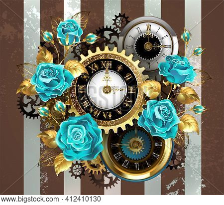 Patterned, Antique Watch, Adorned With Jewelry, Gold Hour Hands And Latin Numerals With Turquoise Ro