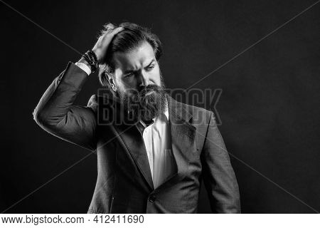 Formal Fashion Model. Handsome Man On Gray Background. Serious Bearded Businessman. Stylish Mature M
