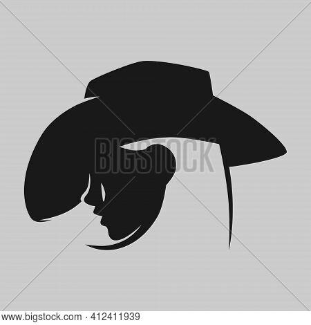 Cowgirl Portrait In Profile Symbol On Gray Backdrop. Design Element