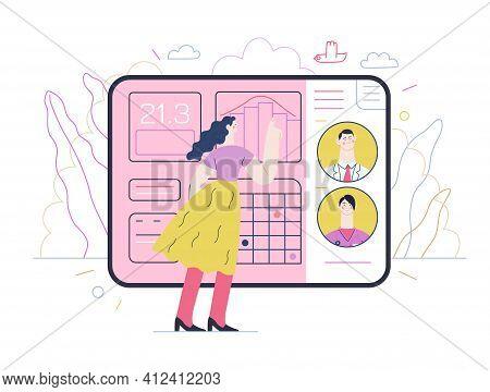 Medical Insurance Illustration- Medical Application -modern Flat Vector Concept Digital Illustration