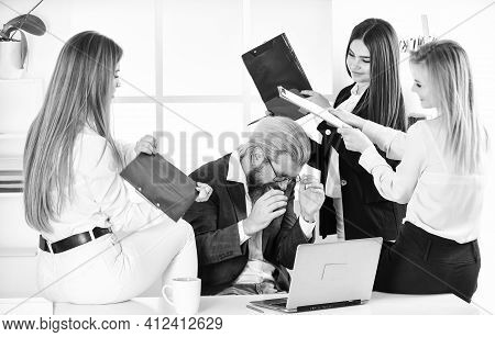 Boss And Supervisor Manager Are Working. Team Of Businesspeople. Male Boss With His Secretary. Offic