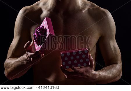 What Is Inside. Love Gift For Date. Passion And Desire. Man Ready To Erotic Games. Happy Valentines
