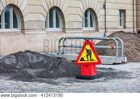 Repair work. Road repair in city street