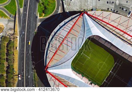Aerial Top View Of The Benfica Stadium. Estadio Da Luz. Football Stadium In Lisbon, Portugal. 10.03.