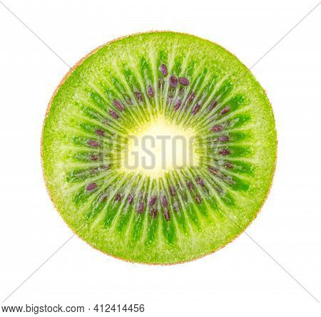 Excellent Kiwi Slice Isolated On White Background. Ripe And Delicious Kiwi Cut Close Up. Gourmet Cho