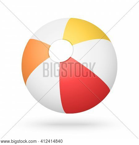 Vector Red Orange Yellow Beach Ball With The Light Shadow For The Beach Ball Game