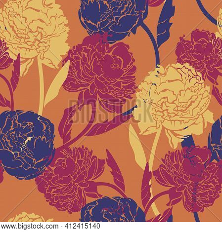 Vector Seamless Pattern With Peonies On Orange Background. Exuberant Blossom Design.