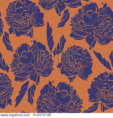 Vector Seamless Pattern With Blue Peonies On Orange Background. Contrast Pattern.