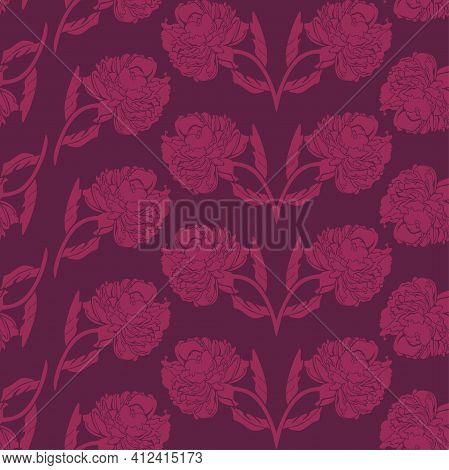 Vector Seamless Pattern With Pink Peonies On Burgundy Background. Silhouettes Of Vivid Flowers, Repe