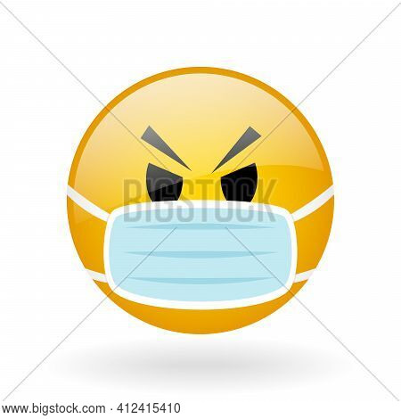 Vector Glass Button With Symbol Of Smiling Face, Smile Emoticon Applicable In Instant Messaging, Fac