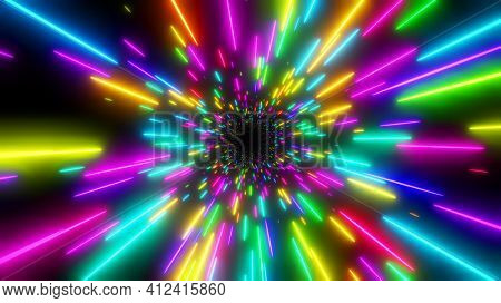 Abstract background neon glow colors. Speed of light in galaxy. Explosion in universe. Cosmic background for event, party, carnival, celebration. 3D render.