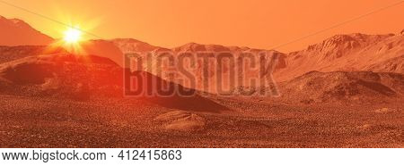 Mars landscape, 3d render of imaginary mars planet terrain with sun, science fiction illustration.
