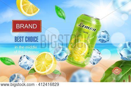 Lemon Drink Aluminium Can With Ice Cubes On Ocean Beach. Lemon Slice And Tropical Leaf. Realistic. V