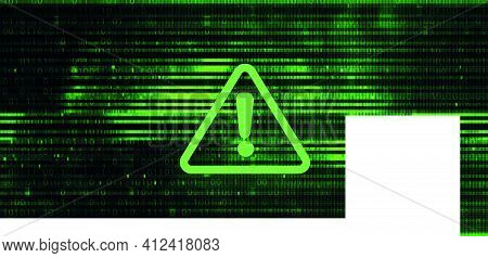 Technology Dark Green Background. Cyber Attack, Matrix Or Hacking Concept