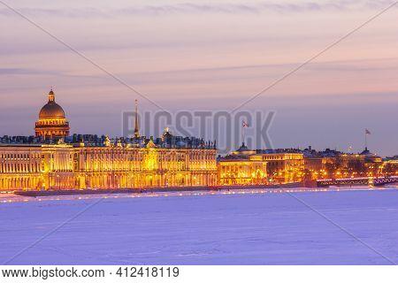 Evening Hermitage Saint-petersburg Russia Palace Embankment Winter Postcard