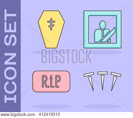 Set Metallic Nails, Coffin With Cross, Speech Bubble Rip Death And Mourning Photo Frame Icon. Vector