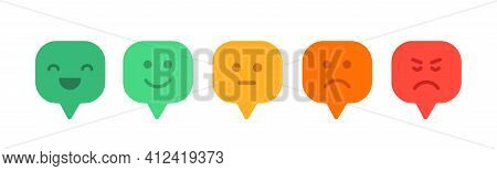 Feedback Emoticon Reaction Flat Design. Positive And Negative Review.