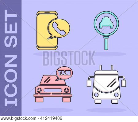 Set Trolleybus, Taxi Call Telephone Service, Taxi Car And Magnifying Glass And Taxi Car Icon. Vector