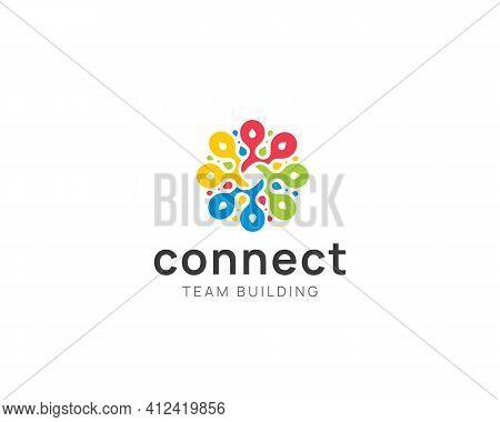 Abstract Connection Logo Sign. Colorful Teamwork Logotype Vector Design.