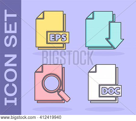 Set Doc File Document, Eps File Document, Document With Search And Document With Download Icon. Vect